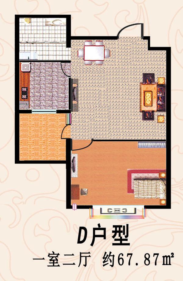 D户型 一室二厅 67-87平方