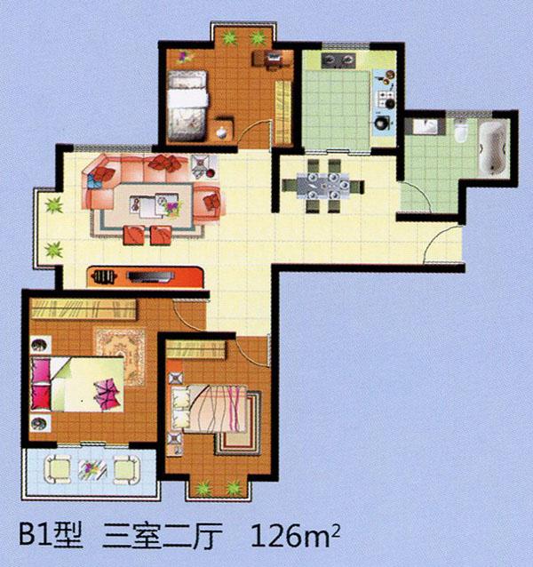 B1三室二厅 126平方